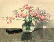 Sweet Peas in a Glass Bowl
