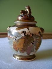 Satsuma jar, with lid