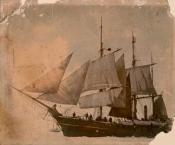 """The Whaling Vessel """"Diana"""" embedded in the ice in the Arctic Sea"""