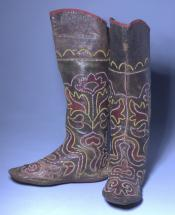 Leather boots with applique and embroidery, North American, early 20th century