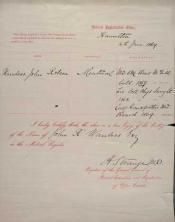 Registration document within the John Wanless papers
