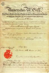 Certificate from McGill University within the John Wanless papers