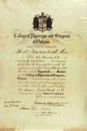 Registration certificate within the John Wanless papers