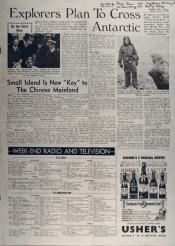 Explorers plan to cross Antarctic. From Evening Times, Saturday, January 22nd, 1955