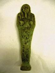 Green shabti figure, inscribed