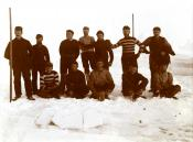 Photograph of football team on ice