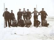 Photograph of football team of S.S. 'Active' on ice