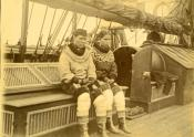 Photogarph of two Inuit women on the deck of a whaling ship