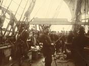 Photograph: cutting blubber on deck of ship