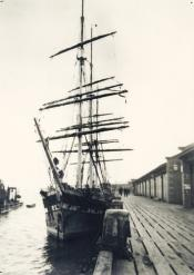 Whaling ship berthed in Dundee Harbour