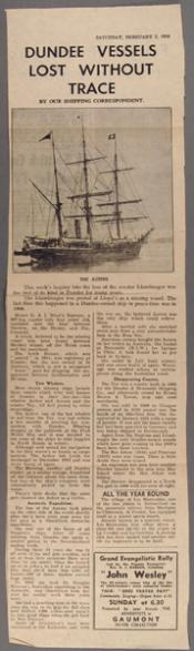 Newspaper article: 'Dundee Vessels Lost Without Trace'