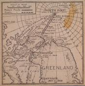 Newspaper cutting: map of explorer's routes to North Pole