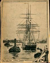 Cutting from a newspaper showing 'Terra Nova' leaving London