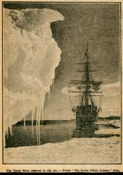 Newspaper cutting showing 'Terra Nova' moored in the ice