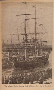 Newspaper cutting showing a photograph of 'Active' leaving Dundee dock