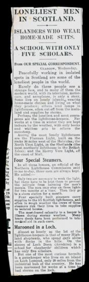 Newspaper cutting entitled 'Loneliest Men in Scotland'