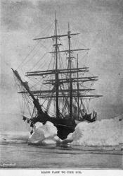 Photograph clipped from a magazine: 'Made fast to the ice'