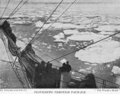 Photograph cut from a magazine: pack ice from deck of a ship