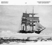 Photograph clipped from a magazine, showing a ship in an ice field.