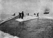 Photograph cut from a magazine: cutting an ice dock