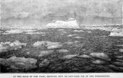 Drawing clipped from a magazine, showing the sea covered in ice floes and an iceberg in the distance.