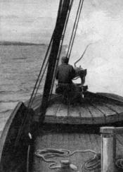 Photograph clipped from a magazine: a harpoon gun being fired.