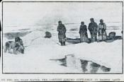 Photograph clipped from a newspaper: Inuit on the ice