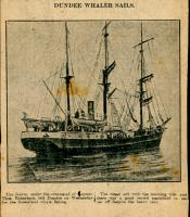 Drawing clipped from a newspaper: 'Dundee Whaler sails'