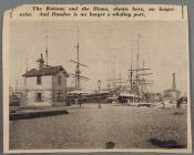 Photograph clipped from a newspaper, showing two whaling ships in Dundee docks.