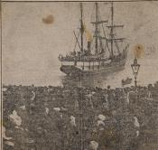 Photograph clipped from newspaper: ship leaving Dundee docks