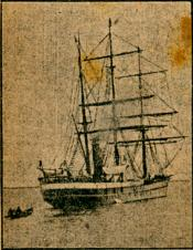 Photograph clipped from a newspaper: whaling ship from the stern