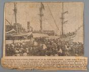 Photograph clipped from a newspaper: whaling ship leaving Dundee