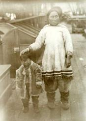 Inuit mother and child on deck of Eclipse, 1900 Capt Milne