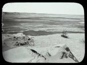 Whaling ship moored to pack ice