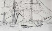 Drawing showing whalebone being hoisted aboard a whaling ship during flensing
