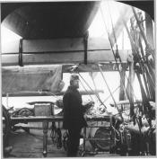 Captain Thomas Robertson holding a sextant on the bridge of 'Active', 1894