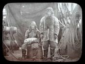 Two Inuit on the deck of 'Maud' in 1889