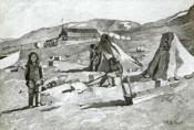 Drawing of a European style building and Inuit tents