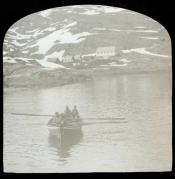 Inuit in rowing boat near Godhaven.