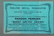 """Leaflet advertising """"Midst Arctic Snows"""" at the Theatre Royal, Worcester, Thursday 9th April, 1908"""