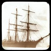 Dundee whaling ship 'Eclipse' moored to ice.
