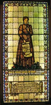 Stained glass window depicting Mary Queen of Scots
