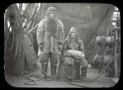Inuit couple on the deck of whaling ship