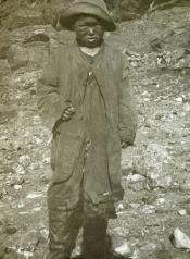 Inuit child wearing hat