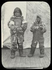 Portrait of two Inuit children