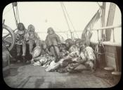 View of Inuit women and children on deck of a whaling ship