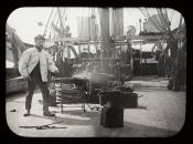 Blacksmith with forge on deck of Dundee whaling ship