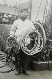 Whaling crewman with lifting tackle