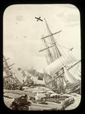 Drawing of whaling ships in an ice pack