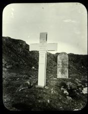 Lantern slide of gravestones of two whaling men in the Arctic